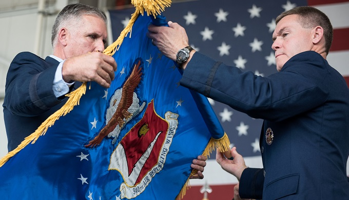 940th Air Refueling Wing Flag unfurled